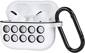 AirPods Pro Case, Audioimagine Liquid Silicon AirPods Pro Case Cover with Keychain, Case for AirPods Pro, Compatible with Apple AirPods Pro White