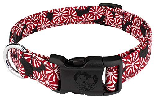 - Country Brook Design Peppermint Candy Black Designer Handmade Dog Collar-M