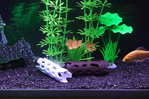 Hygger Small Aquarium Decorations, Ceramic Hollow Out Tunnel Ornament,  Betta Fish Accessories, Hiding Cave for Shrimp Fish Tank 1-100 Gallon  (Brown)