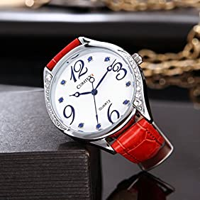 COMTEX Women's Red Leather Strap Fashion Casual Wrist Watches