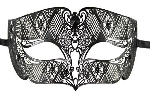 [Luxury Mask Diamond Design Laser Cut Venetian Masquerade Mask, Black/Black Stones, One Size] (Male Masquerade Mask)