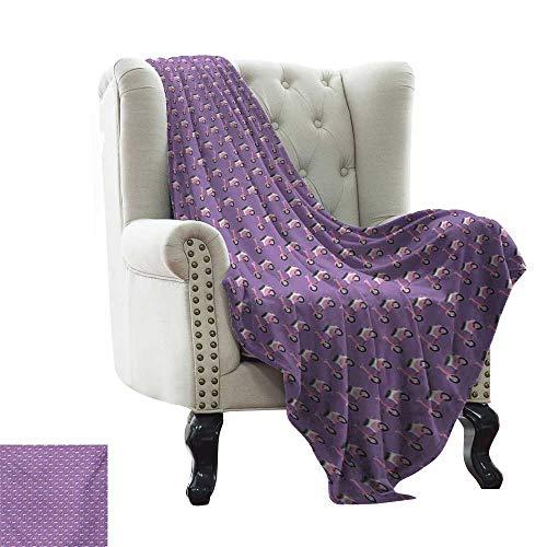 Motorcycle,Super Soft Lightweight Blanket,Vintage Deep Deck Girlie Scooters on a Purple Shaded Background 60