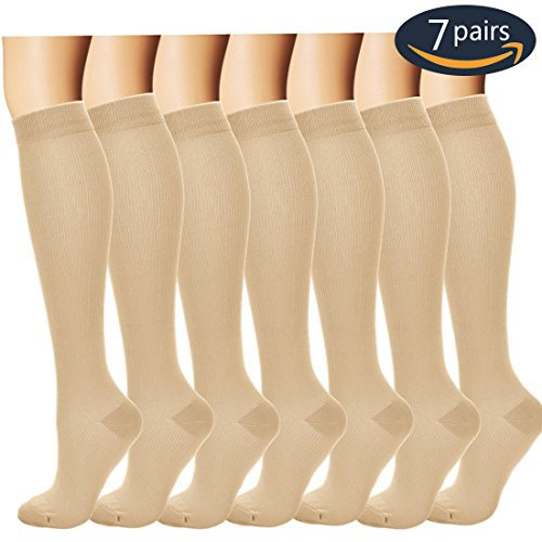 7 Pairs Compression Socks For Women and Men - Best Medical, Nursing, for Running, Athletic, Edema, Diabetic, Varicose Veins, Travel, Pregnancy & Maternity - 15-20mmHg, Large / X-Large,  Nude - Beige Compression Stocking