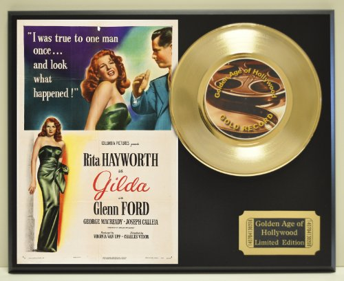 """Rita Hayworth and Glenn Ford in """"Gilda"""", Limited Edition Gold 45 Record Display. Only 500 made. Limited quanities...."""