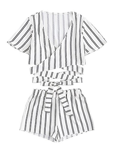 (SweatyRocks Women's 2 Piece Short Sleeve Striped Wrap Crop Top and Shorts Set White XL)