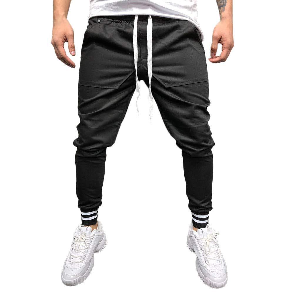 GoodLock Clearance!! Men's Casual Loose Jogger Pants Fashion Solid Patchwork Pocket Sweatpant Trousers (Black, XXX-Large)