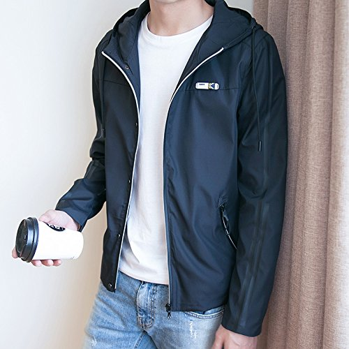 YLSZ-jacket La versión coreana del otoño hombres chaqueta Chaqueta chaqueta de abrigo hombre de moda de la juventud, los estudiantes en el otoño de delgado, negro,XXXL