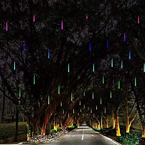 lichterkette aubenGeführte Meteorschauer-Regen-Lichter, 50cm, 8 Tube, fallende Regen-Tropfen-Eiszapfen-Schnee-Fall-Fee, Schnur-Weihnachtsgirlande, geführte feenhafte Lichtfarbe