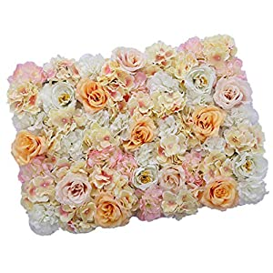 Flameer 40X60cm Artificial Silk Plastic Rose Flower Panel Wall Decoration Decorative Grass Turf Wedding Venue Backdrop Decor - Flower A, 40x60cm 9