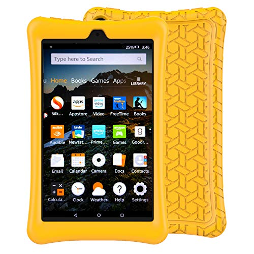LTROP Tablet Case for All-New Fire HD 8 2018/2017- Light Weight Shock Proof Soft Silicone Kids Friendly Case for All-New Fire HD 8 Tablet (7th Gen - 2017 Release & 8th Gen - 2018 Release),Yellow