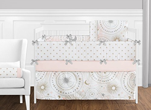 - 9 pc. Blush Pink, Gold, Grey and White Star and Moon Celestial Baby Girl Crib Bedding Set with Bumper by Sweet Jojo Designs