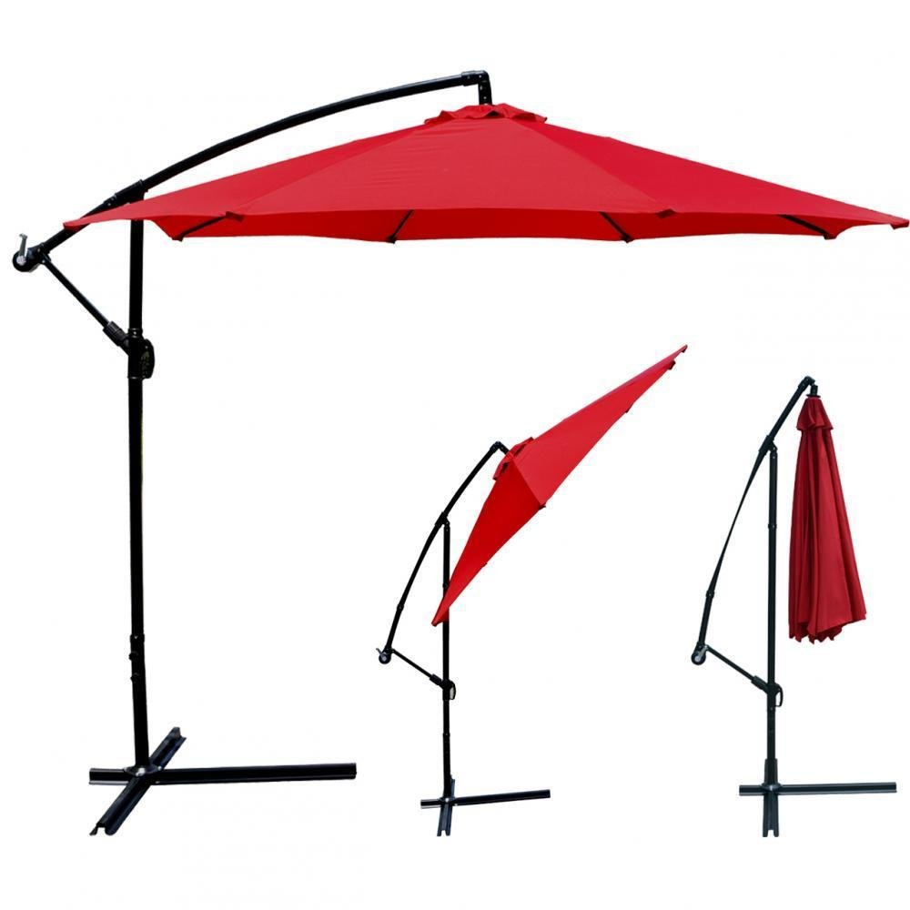 ANA Store Red Field Pendent Shade Outside Beach Yard Market 180g Water-Proof Polyester 10'' Umbrella Offset with Crank