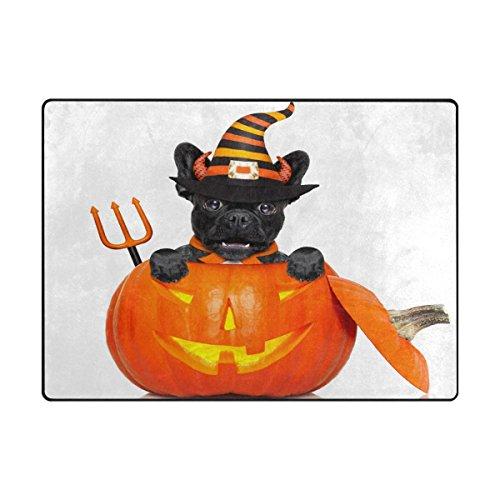 Vantaso Soft Foam Area Rugs French Bulldog Halloween Pumpkin Jack O Lantern Non Slip Play Mats 80x58 inch for Kids Playing Living Room