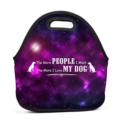 Lover Bei The more people I meet the more I love my dog 2 Neoprene Lunch Tote Bags Travel Work