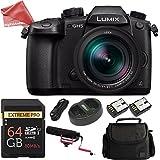 Panasonic LUMIX GH5 4K Mirrorless Camera w/ Lecia 12-60mm w/ 64GB Memory Card + Shotgun Mic + DSLR Professional Bag + DigitalAndMore Microfiber Cloth