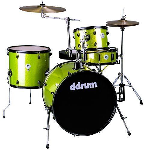 ddrum D2 Rock Series Complete Drum Set with Cymbals, Lime Sparkle