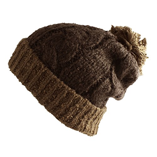 Morehats Large Pom Pom Soft Crochet Thick Knit Slouchy Beanie Beret Winter Ski Hat - Chocolate/Brown