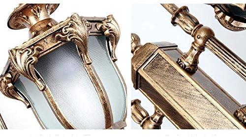 FEE-ZC 2-Lights Straatverlichting Buiten Tuin Staand Aluminium Waterdicht IP54 Bolder Kolom Lamp Villa Gazon Hoge Paal Lantaarn Vintage Glazen Zuillamp E27 (Kleur: Brons)