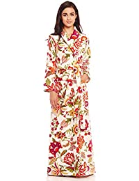 Long Women's Terry Cotton Bath Robe - Toweling With Belt - Floral