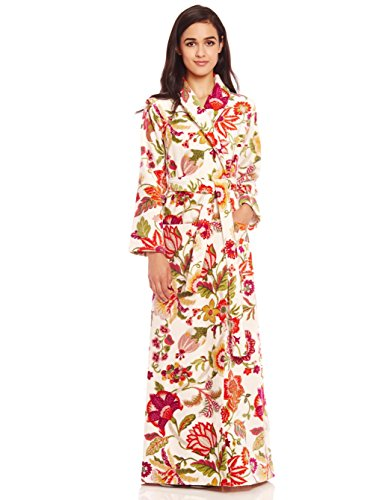 Cinderella Long Women's Terry Cotton Bath Robe - Toweling With Belt - Floral, Blossom Floral, Small