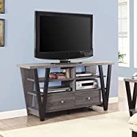 Coaster 60 TV Stand in Distressed Gray and Black