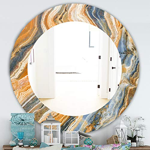 Designart 'Marbled Geode 4' Traditional Wall Mirror Framed Mirrors, Large Oval or -