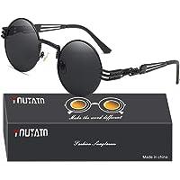 Youtato Gafas de Sol Polarizadas para Hombres Gafas de Sol con Protección UV para Hombres y Mujeres Nueva Moda Clásico Lentes Redondas Vintage Gafas de Metal Ultra Ligeras