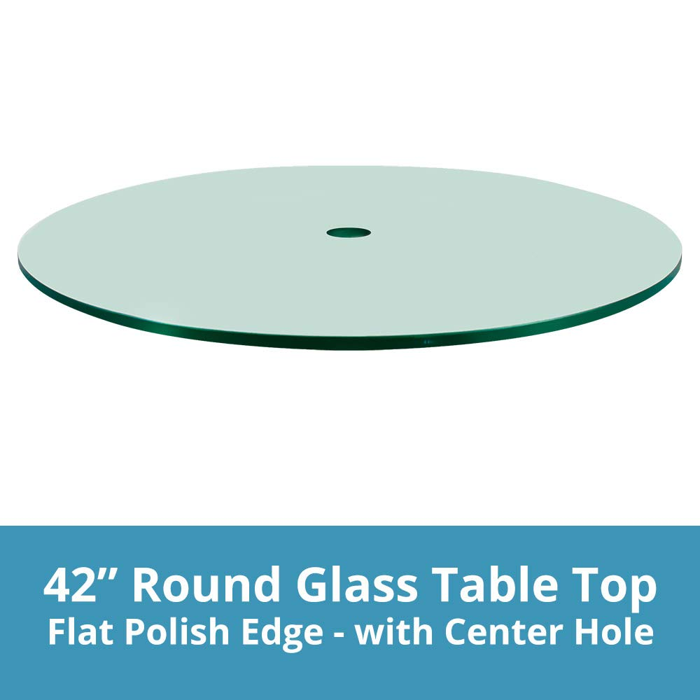 42'' Round Glass Patio Table Top, 1/4'' Thick, Flat Polish Edge, Tempered Glass with Center Hole