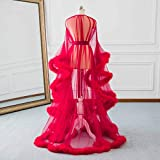 Changuan Sexy Feather Bridal Robe Tulle Illusion