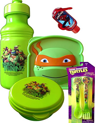 Teenage Mutant Ninja Turtles Survival Kit Lunch , Includes Pull-top Water Bottle , Sandwich and Snack Container ,Spoon and Fork with Handy Spiderman Clip on Hand Sanitizer -