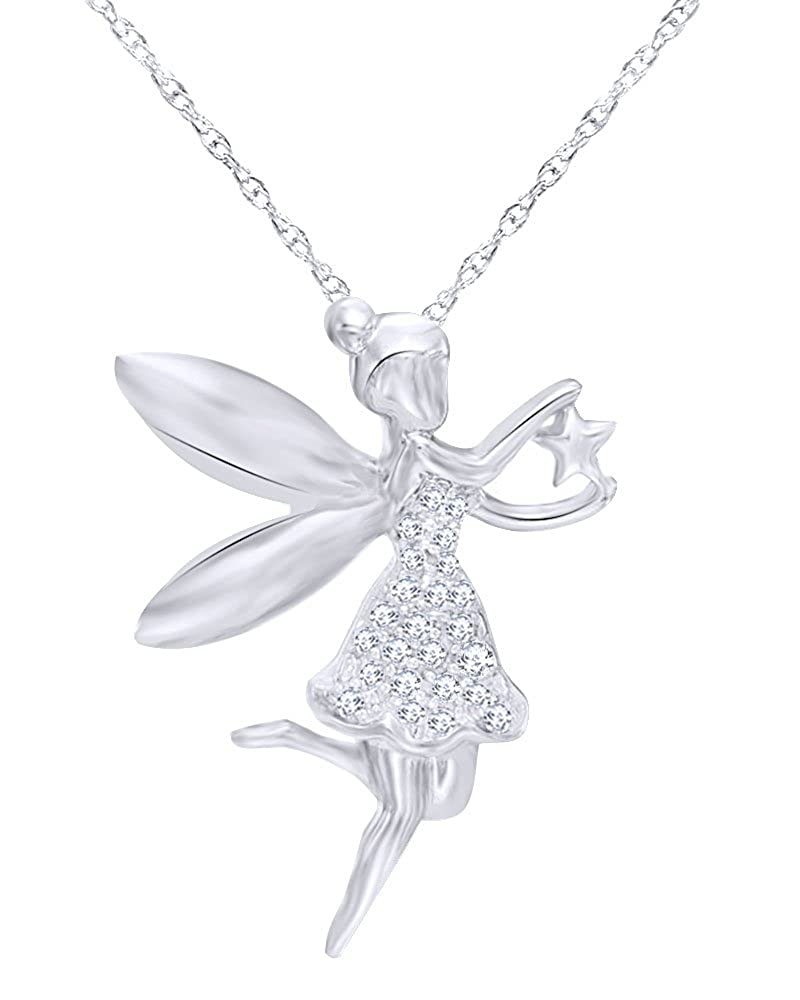 Wishrocks 14K Solid Gold Over Sterling Silver Round Cut Diamond Accent Fairy with Star Pendant