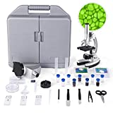 TELMU Microscope for Kids and Beginners Includes 70pcs+ Accessory Set, 300X-600X-1200X Magnification