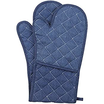 NEOVIVA Cotton Denim Jeans Quilted Double Oven Glove for Baking, Cooking, Solid Indigo Blue