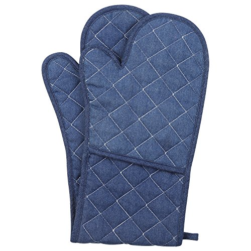 Neoviva Cotton Denim Jeans Quilted Double Oven Glove for Baking, Cooking, Solid Indigo (Denim Oven)