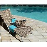 Leopard sun lounger towel, drying towel, pillow and beach bag set