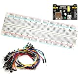 Frentaly MB-102 830 Point Prototype PCB Breadboard + 65pcs Jump Cable Wires + Power Supply