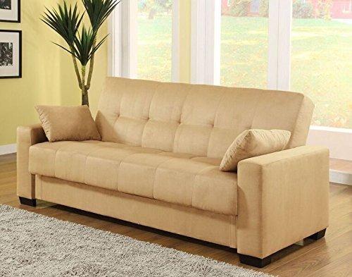 Pearington Mia Microfiber Sofa Sleeper Bed & Lounger with Storage, Khaki