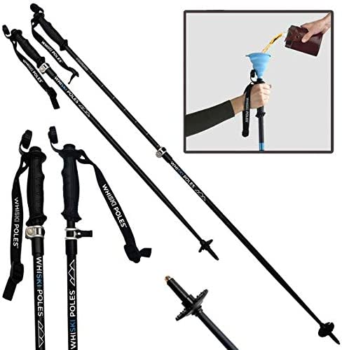 WhiSki Poles Trekking Hiking Ski Pole with Integrated Flask – Adjustable Lightweight – Telescopes 36 -54 90-140cm