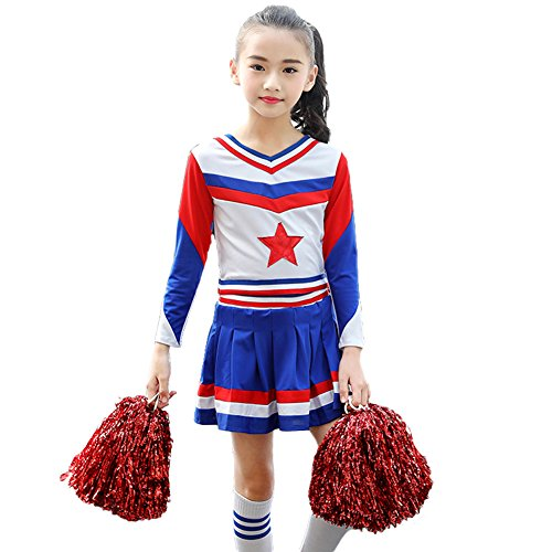 Dreamowl Girls Cheerleader Costume Uniform Youth Star Cheerleading Outfit Match Pompoms (12-14, Long Sleeve) ()