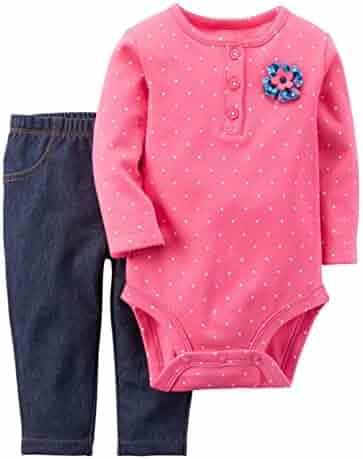 8089b5ef5 Carter's Infant Girl Pink Polka Dot Bodysuit Creeper Shirt Denim Legging  Pants