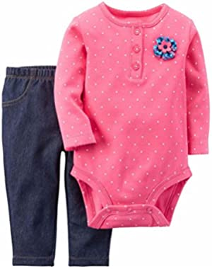 Carters Infant Girl Pink Polka Dot Bodysuit Creeper Shirt Denim Legging Pants