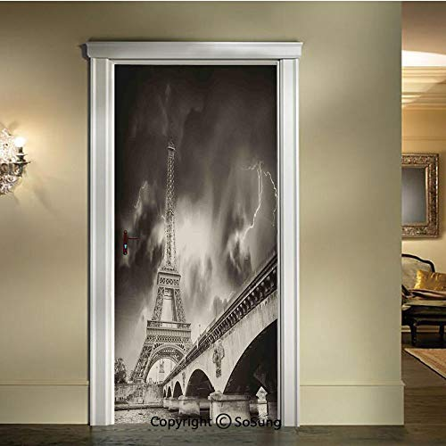 (baihemiya Modern Art 3D Door Sticker,Storm Above Eiffel Tower Dramatic Night Sky View with Flash of Lightning Dark Clouds,W30.3xL78.7inch,Removable Door Decal for Home DecorGray)