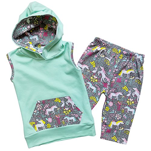 So Sydney Toddler Girls 2 Pc Hoodie Sleeveless Top and Crop Capri Pants Outfit (XL (6), Magic Unicorn Mint Green)