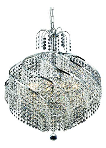 Elegant Lighting 8052D22C/Sa Swarovski Spectra Clear Crystal Spiral 10-Light, Single-Tier Crystal Chandelier, Finished in Chrome with Clear Crystals