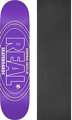 公ラフ睡眠家具Real Skateboards Renewalオーバルパープル – スケートボードデッキ7.56 X 31.38 CMでMob Grip Perforated Griptape – 2アイテムのバンドル