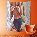 Tapestry Wall Hanging cropped image of beautiful passionate couple having sex on bed man Home Decorations for Bedroom Dorm 40W x 60L Inch