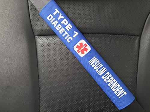 Type 1 Diabetes Insulin Dependent Medical Alert Seat Belt Cover (Royal Blue)