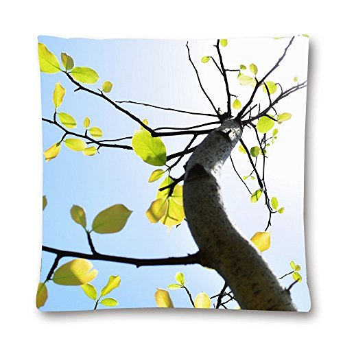AHArtSaleStore O16L Beautidul Leaves of the Tree Decoration Pillow Case Cushion Cover 18 inch (Bordered Tree)