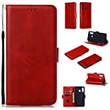 Snow Color Leather Wallet Case for Galaxy A20 / A30 with Stand Feature Shockproof Flip, Card Holder Case Cover for Samsung Galaxy A30 / A20 - COYKB010122 Red