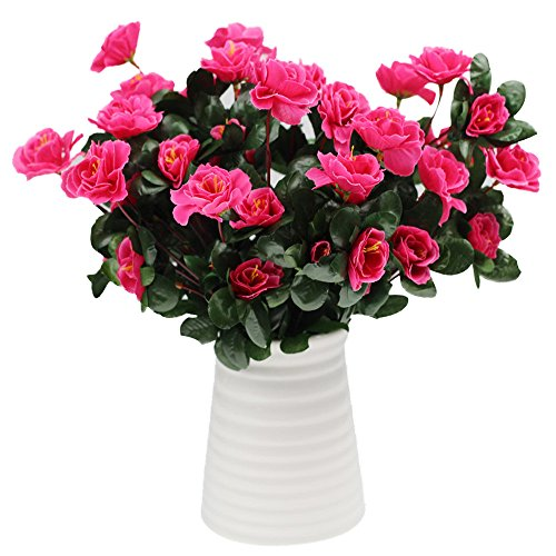 Mikilon Artificial Flowers, Fake Flowers Silk Artificial Rhododendron 21 Heads Wedding Bouquet for Home Garden Party Wedding Decoration (Vase not Included) (Hot Pink)